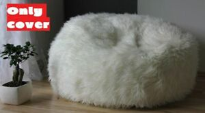 Faux Fur Bean Bag Chairs Kids Adult Fluffy Cover Plush (Cover only)