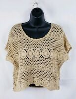 INC International Concepts Womens Top Crotchet Petite Size Small Beige Cropped