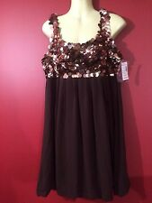 R & M RICHARDS Women's Brown Sequin Sleeveless Dress - Size 8P - NWT $59.99