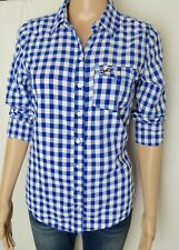 Hollister Women's long Sleeve  Blue/White  Button Down Shirt Sz Medium Checks