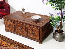 120x65cm kolonialstil Wohnzimmertisch tischtruhe Tisch Couchtisch Schubladen 16A