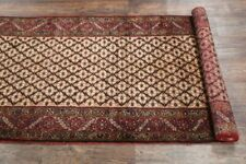 Top Deal Geometric Koliaei Hand-Knotted 3'x13' Brown Oriental 13 ft Runner Rug