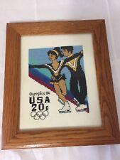 VINTAGE 1984 LOS ANGELES OLYMPICS FINISHED NEEDLEPOINT FRAMED FIGURE SKATE STAMP