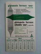 "GLUTAMATE FERREUX "" ANA "" MEDICAMENT PHARMACIE / BUVARD PUBLICITAIRE  ANCIEN"
