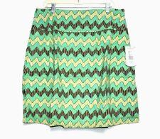 Royal Robbins - 16 (XL) - NWT - Green Zig Zag Chevron Print Cotton A-Line Skirt
