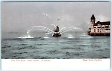 """NEW YORK HARBOR, NY    Fire Boat """"NEW YORKER"""" in Action  c1900s UDB     Postcard"""