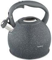 Stainless Steel Whistling Kettle 2 L Grey  Marble induction gas STOVETOP