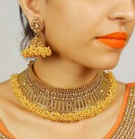 Indian Jewelry Necklace Gold Plated Bridal Wedding Fashion Bollywood Earrings