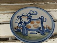 M A Hadley cow 6″ bread butter salad plate MA pottery country blue salad side cu