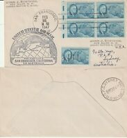 US 1947 PAN AM FAM 19 FIRST FLIGHT FLOWN COVER SAN FRANCISCO TO SYDNEY AUSTRALIA