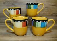 SET OF 4 - GIBSON - HOME - FANDANGO - 12 OZ. STONEWARE COFFEE MUGS - EUC