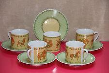 lot 5 tasses et soucoupes décor dromadaires élephants chevaux TBE