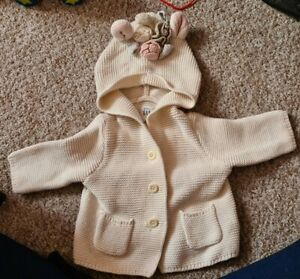 Gap Baby Knitted Unicorn Cardigan So Pretty 0-3 Months Floral Roses