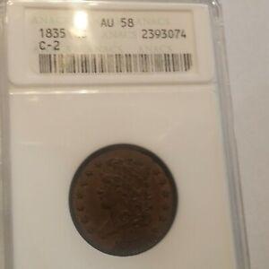 1835 USA Classic Head Half Cent 1/2c Coin ANACS AU-58