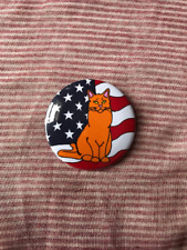 "Patriotic Orange Cat Button 2.25"", 4th of July Kitty Party Favors and Gifts"