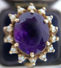 Beautiful Amethyst & Pearl Large Dress Ring Set In 9ct Yellow Gold