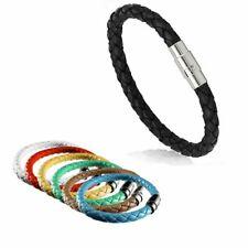 Colorful Unisex Braided Leather Steel Magnetic Clasp Bracelet Handmade Bangle
