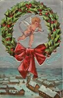 Antique Postcard 'A Merry Christmas' Angel Watching Snowy Village Silver Backgrd