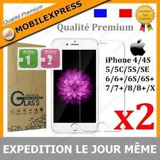 iPhone 5/SE/6/S/7/PLUS/8/X - Vitre protection VERRE TREMPE Film protecteur écran