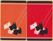 2 Single VINTAGE Swap/Playing Cards SCOTTIE SCOTTY DOGS ON LEADS Orange & Red
