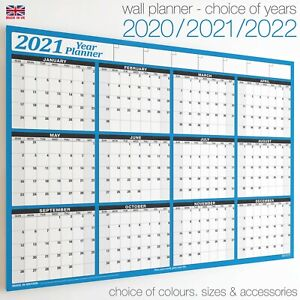 Wall Planner ✔2021 ✔2022 ✔2023 Year Calendar Chart Holiday Staff 12 Months BLUE