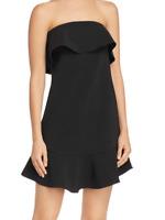 Aqua Womens Sz L Strapless Ruffled Mini Flounce Hem Dress Black