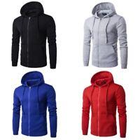 Mens Outwear Long Sleeve Sweatshirt Hoodie Coat Casual Zipper Jacket