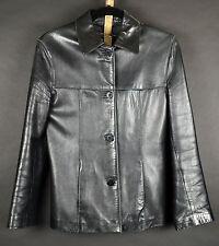 Genuine V S J Lamb Leather Jacket Women's Black VSJ Coat Size S Made in Ecuador