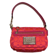 Coach Purse Poppy Collection Small Pink Pop Signature Jacquard Cc43551