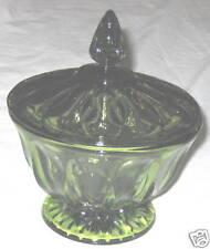 "Green 7"" Candy Jar - Dish w Lid"