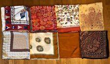 Lot Of 8 Mostly Silk, Some Rayon Vtg Designer Scarves, Mostly Lg Squares, Clean