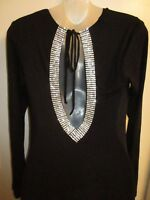 Sky Clothing Brand L Mini Dress $205 Rhinestone Crystal Open Back Black Flawed