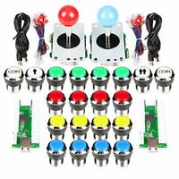 Classic Arcade Contest DIY Kits w/ Joystick & 8 Ways Sticker and LED Push Button