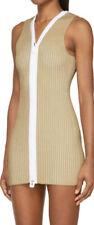 CALVIN KLEIN COLLECTION $1150 deep v zip bodycon zipper Ren mini dress L NEW