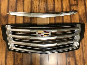Cadillac Escalade Platinum GM OEM Front Grille w/ Emblem & Top Hood Trim '15-'20