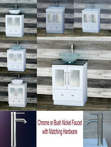 "24"" bathroom vanity 24-inch white Cabinet with Set of Top, Sink & Faucet B2421W"