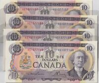 1971 Bank of Canada 10 Dollar Notes- Lawson/ Bouey- 4 Consecutive-----UNC------
