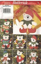 4604 UNCUT Vintage Butterick Sewing Pattern CRAFT Christmas Bear Ornaments OOP