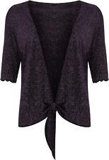 Plus Size Womens Lurex Sparkly 3/4 Sleeve Tie up Ladies Shrug Top 12 - 26 Purple 26-28