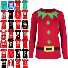 Womens Xmas Elf Costume Top Ladies Christmas Stretchy Jersey Tee T Shirt UK 8-22