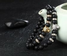 Matt Black Natural bead With Tiger Charm