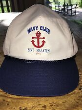 Vintage White Blue Navy Club Sint Maarten 1995 SNAPBACK Hat Cap
