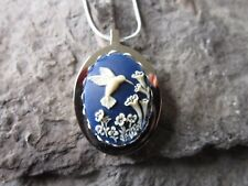 STAINLESS STEEL HUMMINGBIRD ON ROYAL BLUE CAMEO URN NECKLACE - MOURNING, ASHES