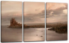 120x80cm Lein-Wand-Bild: Game of Thrones King's Landing Panorama am Meer