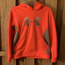 Under Armour Storm Hoodie Boys Girls YXL Orange Coral Gray Long Sleeve Warm