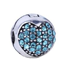 AQUAMARINE BLUE CRYSTAL LOVE HEART CLIP STOPPER CHARM BEAD