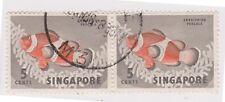 (K65-189) 1962 Singapore 5c orange clown fish pair (E)