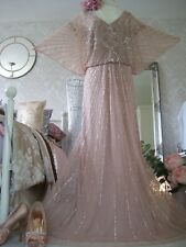 Monsoon Tabitha vintage inspired size 22 pink beaded maxi dress Gatsby wedding