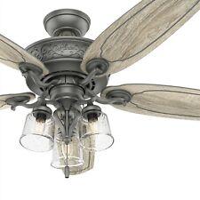 Hunter Fan 54 Em Prata Fosco Tradicional Ventilador De Teto Com Luz E Corrente De Tração