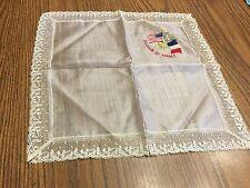 Ladies Vintage Handkerchief Hanky Souvenir Of France Lace Trim Silk Flowers